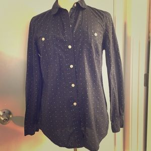 Women's navy blue polka dot button up